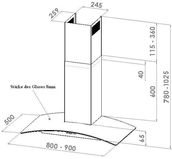gew lbtes glas 90 cm randabsaugung. Black Bedroom Furniture Sets. Home Design Ideas