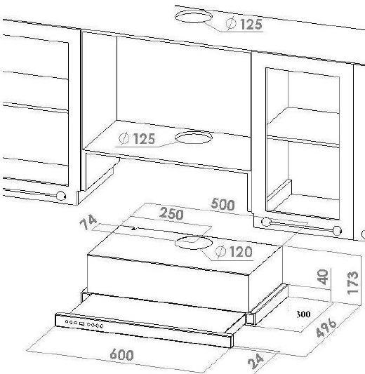flachschirmhaube 60 cm. Black Bedroom Furniture Sets. Home Design Ideas