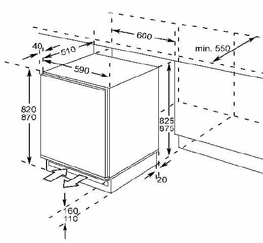 60 cm unterbau k hlschrank fest. Black Bedroom Furniture Sets. Home Design Ideas